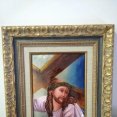 Arte: CRISTO CON LA CRUZ 41*49 - ORO DE LEY LIQUIDO - ESMALTE AL FUEGO - SOR PAULA MARTIN . Lote 189714848