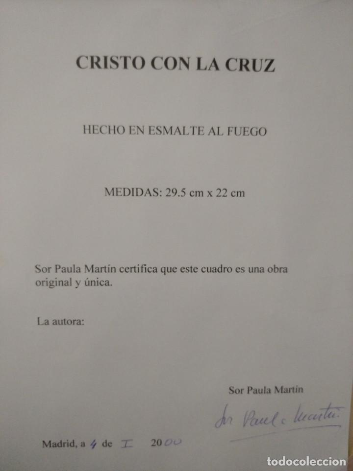Arte: CRISTO CON LA CRUZ 41*49 - ORO DE LEY LIQUIDO - ESMALTE AL FUEGO - SOR PAULA MARTIN - Foto 3 - 189714848