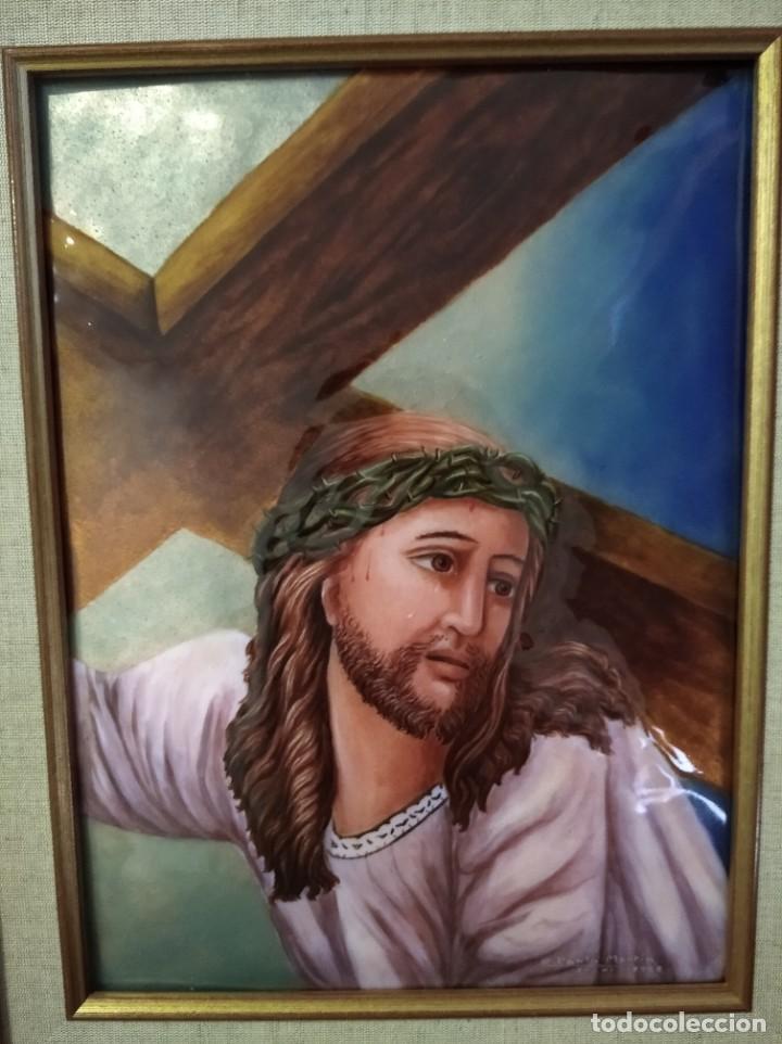 Arte: CRISTO CON LA CRUZ 41*49 - ORO DE LEY LIQUIDO - ESMALTE AL FUEGO - SOR PAULA MARTIN - Foto 5 - 189714848