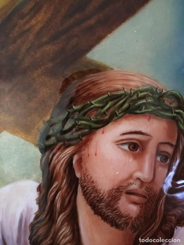 Arte: CRISTO CON LA CRUZ 41*49 - ORO DE LEY LIQUIDO - ESMALTE AL FUEGO - SOR PAULA MARTIN - Foto 7 - 189714848