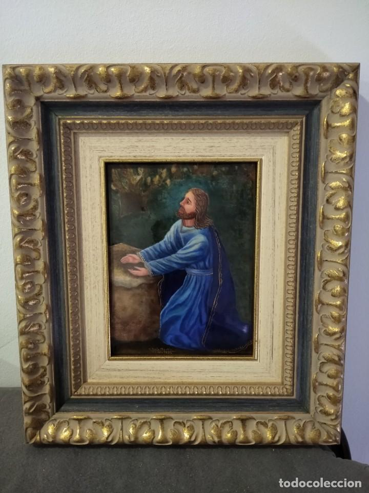 CRISTO ARRODILLADO 39*44 - ORO DE LEY LIQUIDO - ESMALTE AL FUEGO - SOR PAULA MARTIN (Arte - Arte Religioso - Pintura Religiosa - Otros)