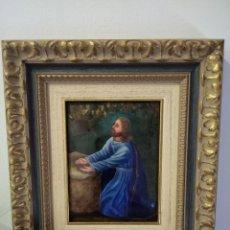 Arte: CRISTO ARRODILLADO 39*44 - ORO DE LEY LIQUIDO - ESMALTE AL FUEGO - SOR PAULA MARTIN . Lote 189715165