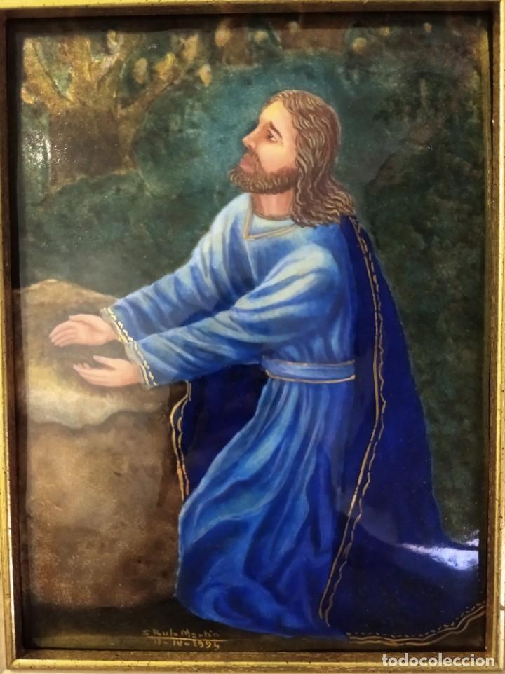 Arte: CRISTO ARRODILLADO 39*44 - ORO DE LEY LIQUIDO - ESMALTE AL FUEGO - SOR PAULA MARTIN - Foto 2 - 189715165