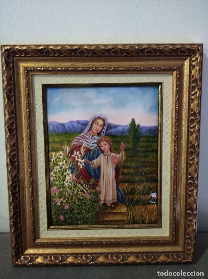 VIRGEN MARIA Y NIÑO JESÚS 32*37 - ORO DE LEY LIQUIDO - ESMALTE AL FUEGO - SOR PAULA MARTIN (Arte - Arte Religioso - Pintura Religiosa - Otros)