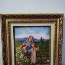 Arte: VIRGEN MARIA Y NIÑO JESÚS 32*37 - ORO DE LEY LIQUIDO - ESMALTE AL FUEGO - SOR PAULA MARTIN . Lote 189715347