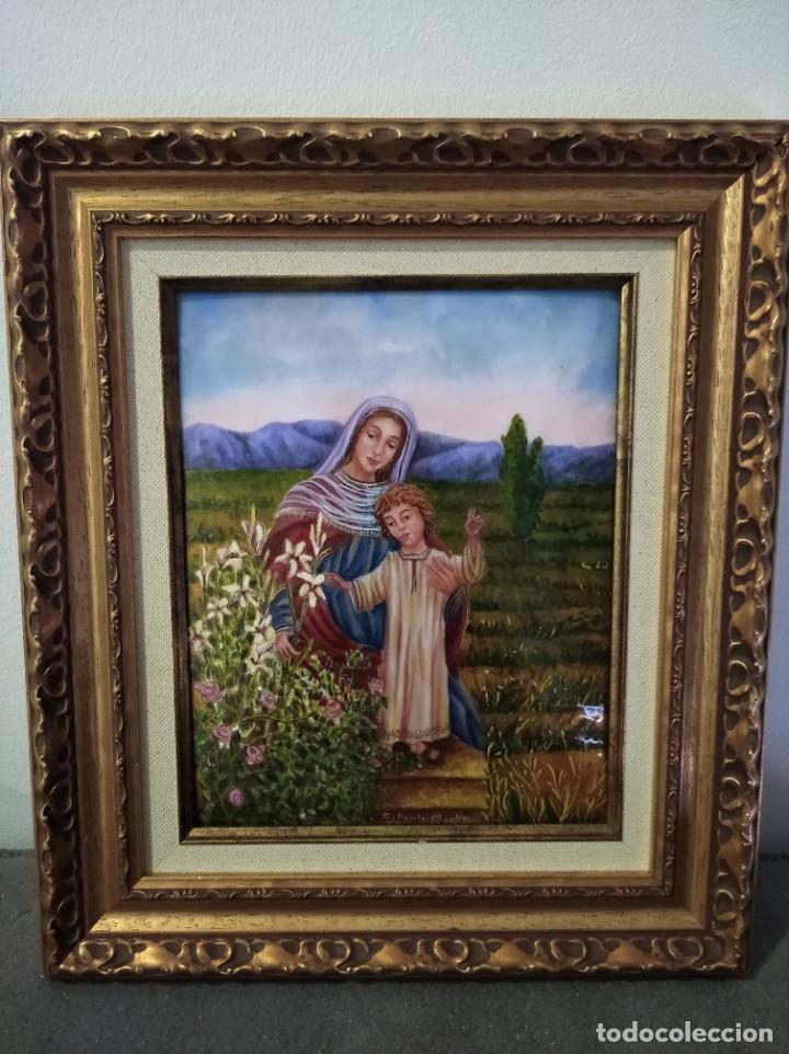 Arte: VIRGEN MARIA Y NIÑO JESÚS 32*37 - ORO DE LEY LIQUIDO - ESMALTE AL FUEGO - SOR PAULA MARTIN - Foto 5 - 189715347