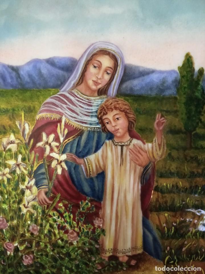 Arte: VIRGEN MARIA Y NIÑO JESÚS 32*37 - ORO DE LEY LIQUIDO - ESMALTE AL FUEGO - SOR PAULA MARTIN - Foto 6 - 189715347