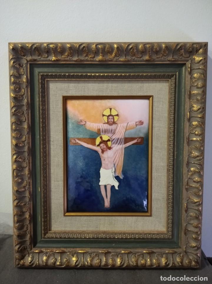 CRISTOS CRUCIFICADOS 41*48 - ORO DE LEY LIQUIDO - ESMALTE AL FUEGO - SOR PAULA MARTIN (Arte - Arte Religioso - Pintura Religiosa - Otros)