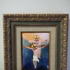 Arte: CRISTOS CRUCIFICADOS 41*48 - ORO DE LEY LIQUIDO - ESMALTE AL FUEGO - SOR PAULA MARTIN . Lote 189715596