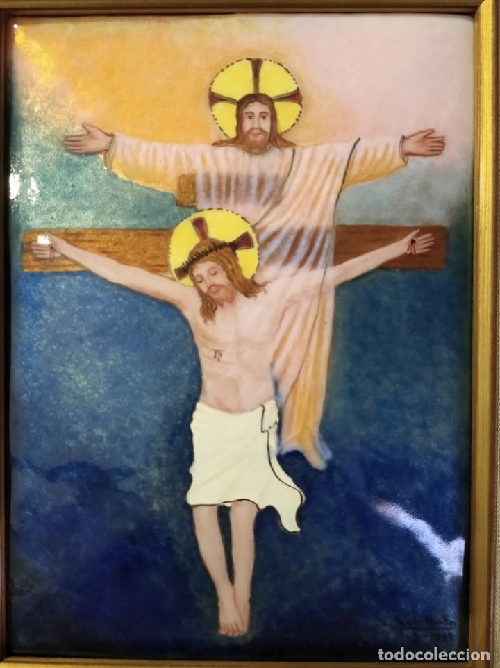 Arte: CRISTOS CRUCIFICADOS 41*48 - ORO DE LEY LIQUIDO - ESMALTE AL FUEGO - SOR PAULA MARTIN - Foto 2 - 189715596