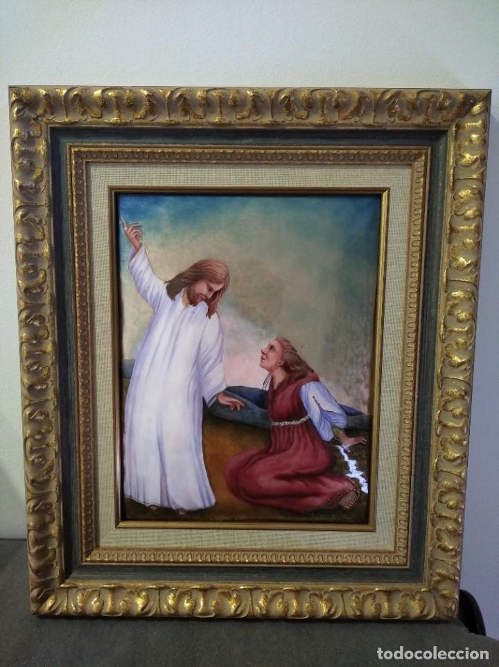 CRISTO RESUCITADO CON MARIA MAGDALENA 48*57 - ORO DE LEY LIQUIDO - ESMALTE AL FUEGO - SOR PAULA MART (Arte - Arte Religioso - Pintura Religiosa - Otros)