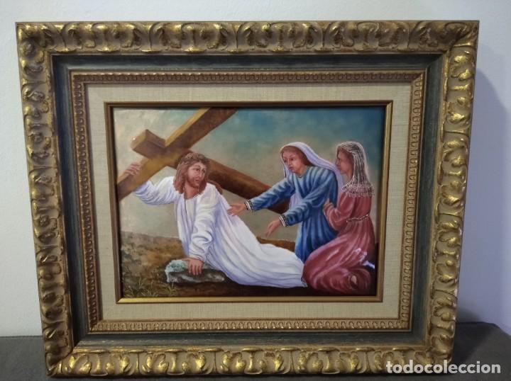 CRISTO ARRASTRANDO LA CRUZ 55*46 - ORO DE LEY LIQUIDO - ESMALTE AL FUEGO - SOR PAULA MARTIN (Arte - Arte Religioso - Pintura Religiosa - Otros)