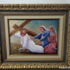 Arte: CRISTO ARRASTRANDO LA CRUZ 55*46 - ORO DE LEY LIQUIDO - ESMALTE AL FUEGO - SOR PAULA MARTIN . Lote 189715865