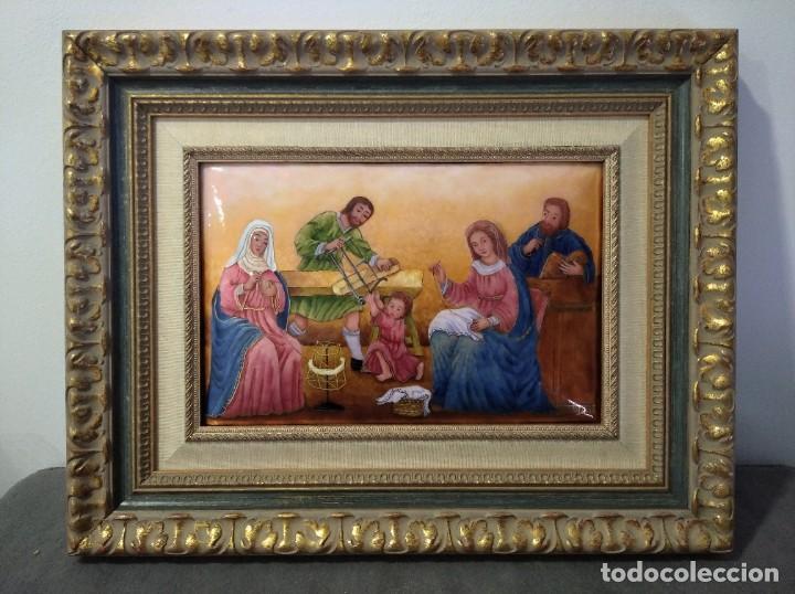 JESÚS, MARIA Y JOSÉ EN LA CARPINTERÍA 58*46 - ORO DE LEY LIQUIDO - ESMALTE AL FUEGO - SOR PAULA MAR (Arte - Arte Religioso - Pintura Religiosa - Otros)