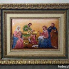 Arte: JESÚS, MARIA Y JOSÉ EN LA CARPINTERÍA 58*46 - ORO DE LEY LIQUIDO - ESMALTE AL FUEGO - SOR PAULA MAR. Lote 189716133