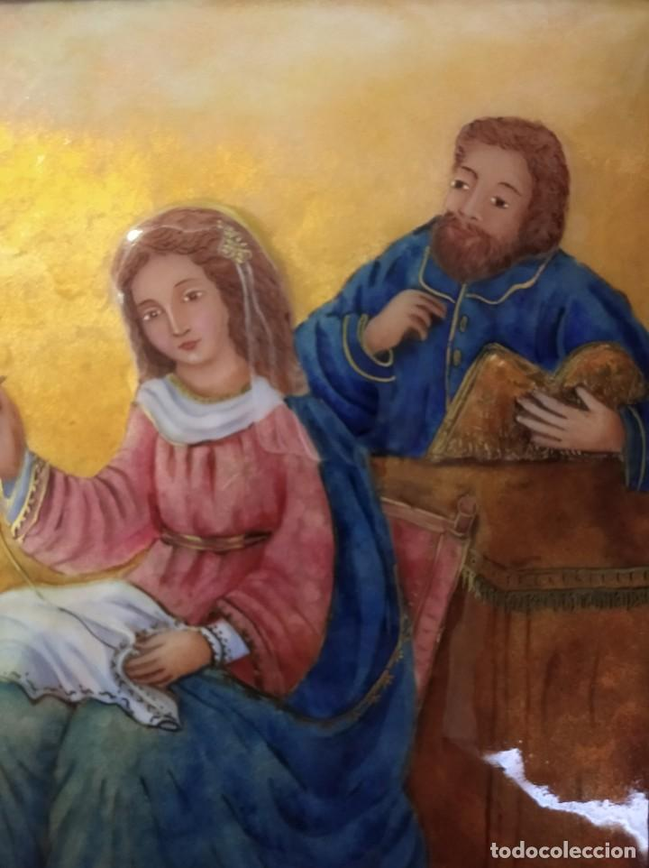 Arte: JESÚS, MARIA Y JOSÉ EN LA CARPINTERÍA 58*46 - ORO DE LEY LIQUIDO - ESMALTE AL FUEGO - SOR PAULA MAR - Foto 4 - 189716133