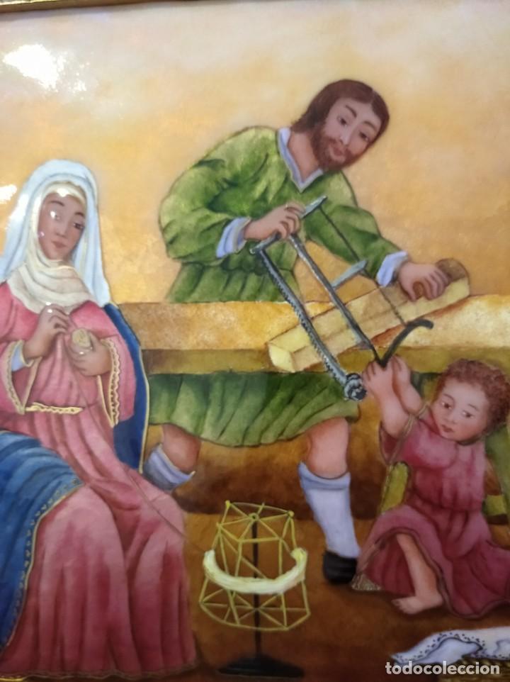 Arte: JESÚS, MARIA Y JOSÉ EN LA CARPINTERÍA 58*46 - ORO DE LEY LIQUIDO - ESMALTE AL FUEGO - SOR PAULA MAR - Foto 5 - 189716133