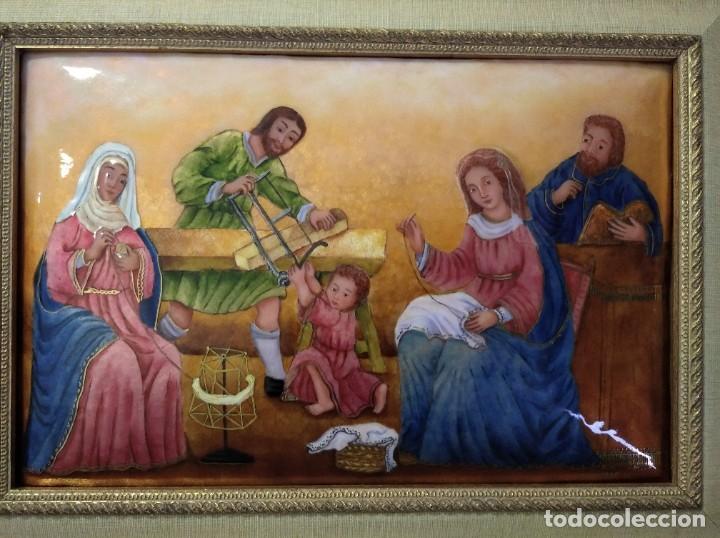 Arte: JESÚS, MARIA Y JOSÉ EN LA CARPINTERÍA 58*46 - ORO DE LEY LIQUIDO - ESMALTE AL FUEGO - SOR PAULA MAR - Foto 6 - 189716133