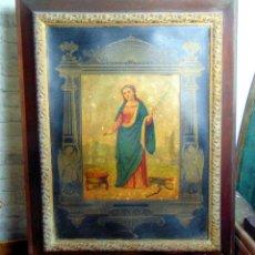 Arte: LITOGRAFIA SIGLO XIX, SANTA AGUEDA, CARTON DURO,SEIBER, ENMARCADA, 92 X 72. W. Lote 189729068