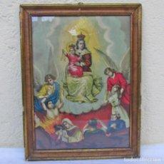 Arte: ANTIGUA LITOGRAFÍA ENMARCADA VIRGEN CON NIÑO, CIELO E INFIERNO. Lote 189744696