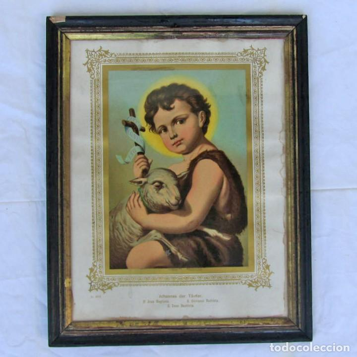 LITOGRAFÍA ENMARCADA DE SAN JUAN BAUTISTA NIÑO (Arte - Arte Religioso - Litografías)