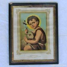 Arte: LITOGRAFÍA ENMARCADA DE SAN JUAN BAUTISTA NIÑO. Lote 189744865