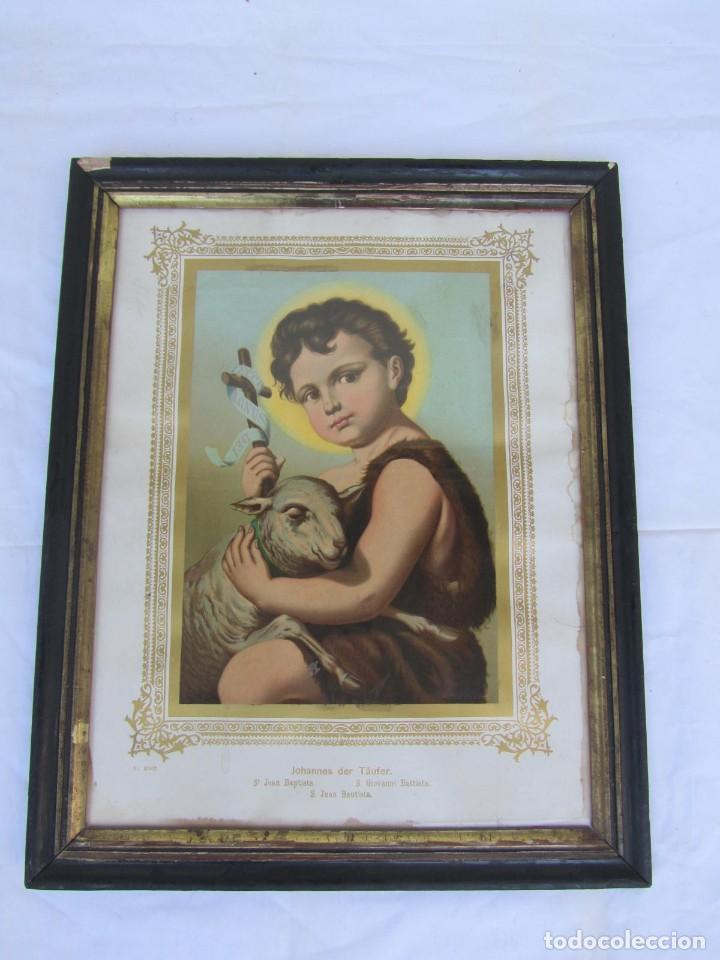 Arte: Litografía enmarcada de San Juan Bautista niño - Foto 2 - 189744865