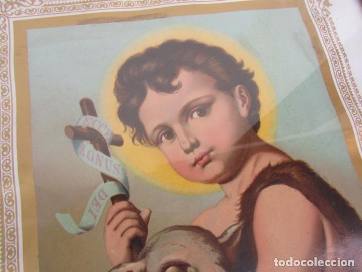 Arte: Litografía enmarcada de San Juan Bautista niño - Foto 3 - 189744865