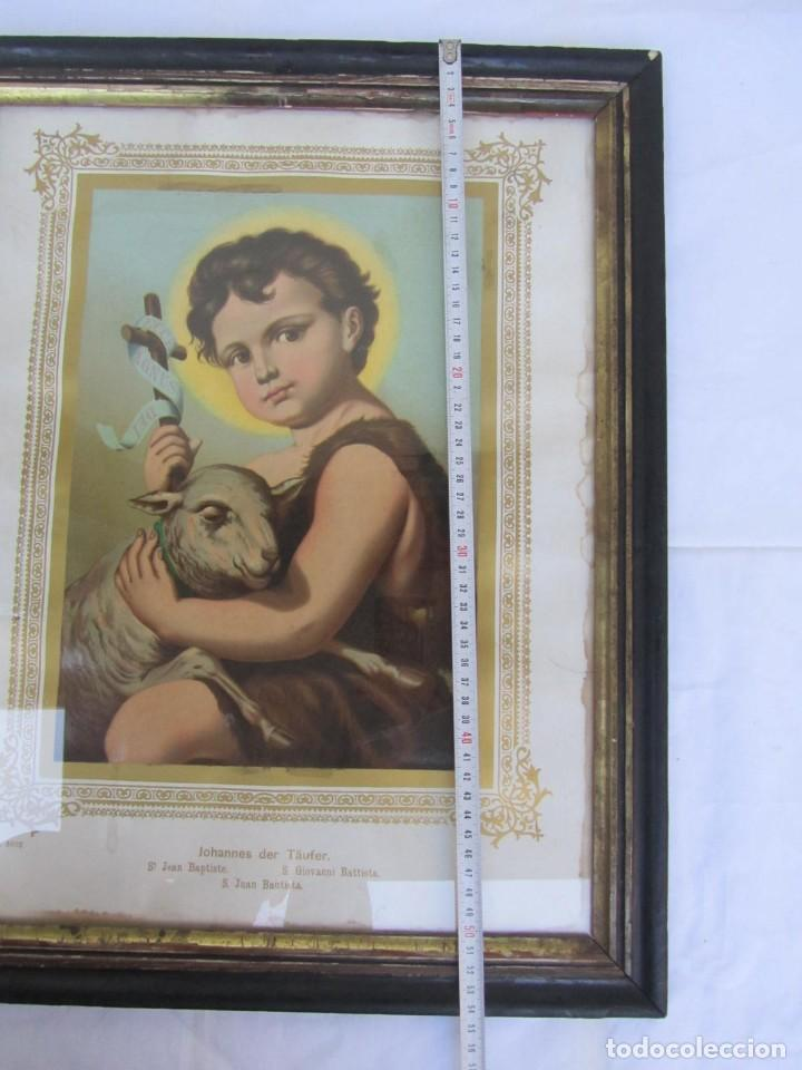 Arte: Litografía enmarcada de San Juan Bautista niño - Foto 11 - 189744865