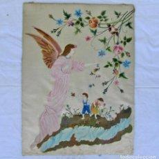 Arte: PINTURA DE ANGEL Y NIÑOS SOBRE SEDA. Lote 189744921