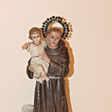 Arte: SAN ANTONIO DE PADUA. PASTA DE MADERA POLICROMADA. SELLO DE OLOT. AÑOS 20´S. Lote 189754463