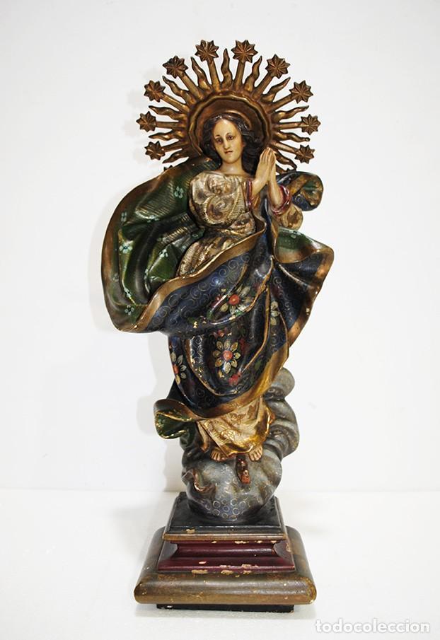 FIGURA RELIGIOSA IMAGEN OLOT VIRGEN INMACULADA CONCEPCIÓN (Arte - Arte Religioso - Escultura)
