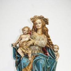 Arte: TALLA DE MADERA RELIGIOSA VIRGEN CON LOS NIÑOS SIGLO XIX. Lote 189766941