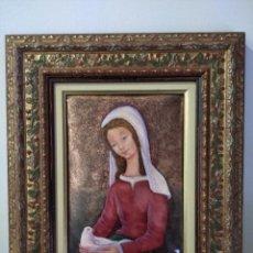 Arte: VIRGEN MARÍA CON PALOMA 43*53 - ORO DE LEY LIQUIDO - ESMALTE AL FUEGO - SOR PAULA MARTIN . Lote 189793581