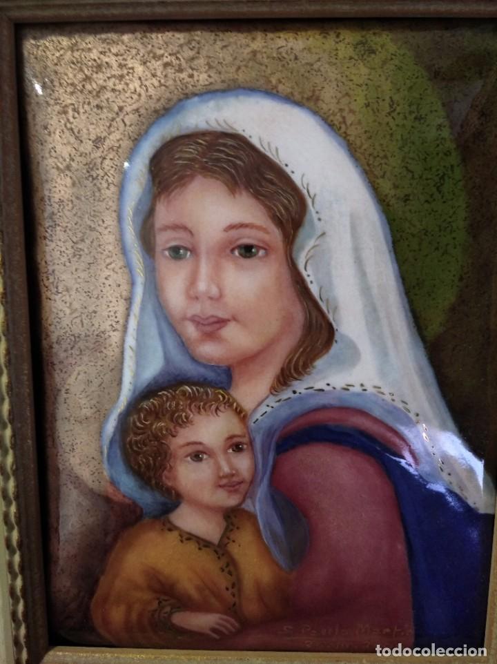 VIRGEN MARÍA Y NIÑO JESÚS 39*45 - ORO DE LEY LIQUIDO - ESMALTE AL FUEGO - SOR PAULA MARTIN (Arte - Arte Religioso - Pintura Religiosa - Otros)