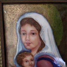 Arte: VIRGEN MARÍA Y NIÑO JESÚS 39*45 - ORO DE LEY LIQUIDO - ESMALTE AL FUEGO - SOR PAULA MARTIN . Lote 189793650