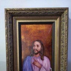 Arte: CRISTO CON LA MANO IZQUIERDA LEVANTADA 36*48 - ORO DE LEY LIQUIDO - ESMALTE AL FUEGO - SOR PAULA MAR. Lote 189793770