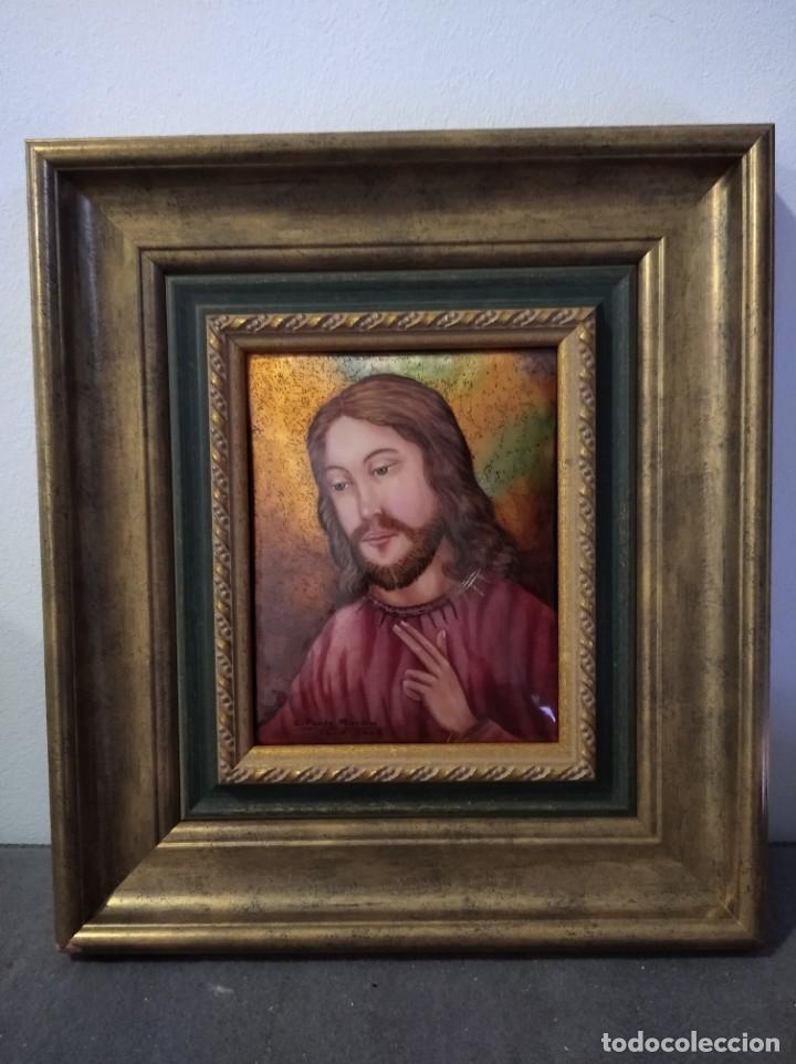 ROSTRO DE CRISTO 35*39 - ORO DE LEY LIQUIDO - ESMALTE AL FUEGO - SOR PAULA MARTIN (Arte - Arte Religioso - Pintura Religiosa - Otros)