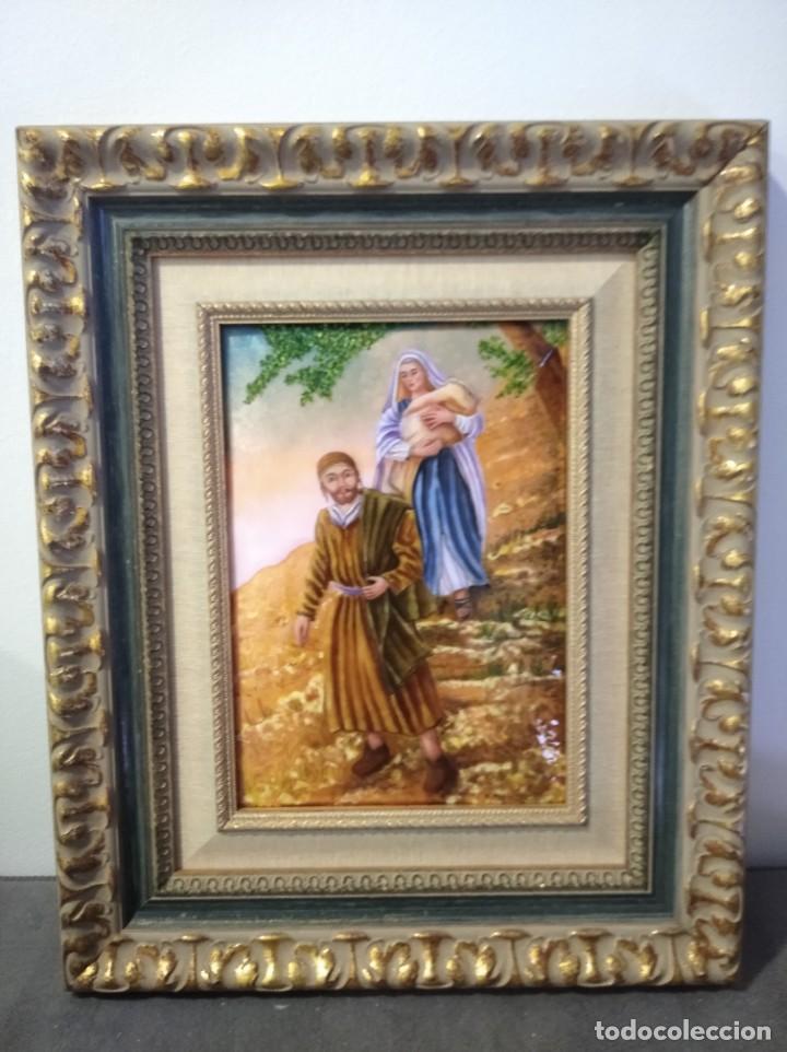 HUIDA A EGIPTO 43*52 - ORO DE LEY LIQUIDO - ESMALTE AL FUEGO - SOR PAULA MARTIN (Arte - Arte Religioso - Pintura Religiosa - Otros)