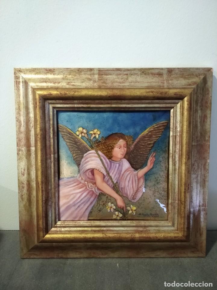 ÁNGEL 42*42 - ORO DE LEY LIQUIDO - ESMALTE AL FUEGO - SOR PAULA MARTIN (Arte - Arte Religioso - Pintura Religiosa - Otros)