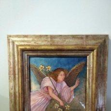 Arte: ÁNGEL 42*42 - ORO DE LEY LIQUIDO - ESMALTE AL FUEGO - SOR PAULA MARTIN . Lote 189794167