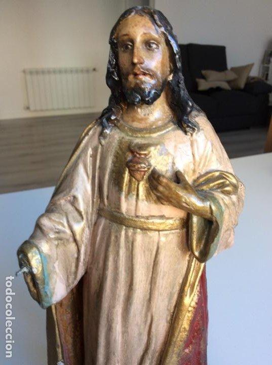 Arte: Imagen del Sagrado Corazón con sello de la desaparecida estatuaria del Sagrado Corazon con peana - Foto 2 - 171503603