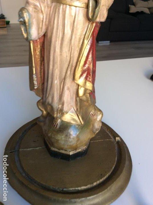 Arte: Imagen del Sagrado Corazón con sello de la desaparecida estatuaria del Sagrado Corazon con peana - Foto 10 - 171503603