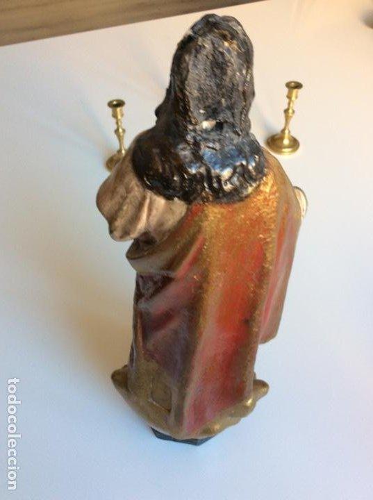 Arte: Imagen del Sagrado Corazón con sello de la desaparecida estatuaria del Sagrado Corazon con peana - Foto 14 - 171503603