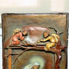 Arte: ANTIGUO BELEN,NACIMIENTO,PESEBRE Y ANUNCIACION AÑO 1900/20 DE PARED.ESTUCO PATINADO,ANGELES Y VIRGEN. Lote 190015331