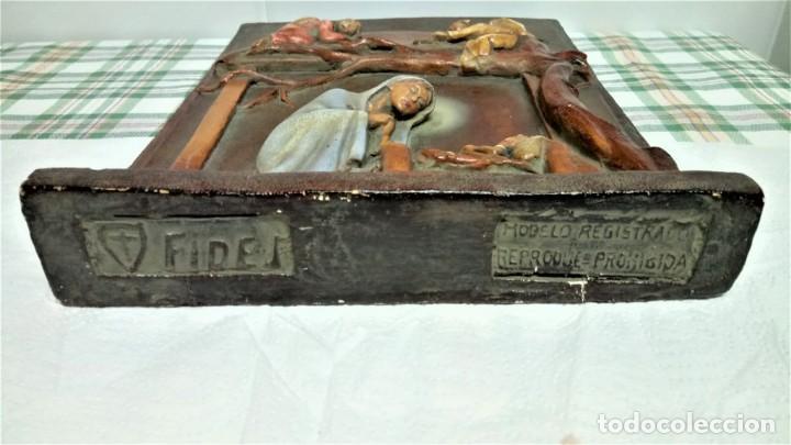Arte: ANTIGUO BELEN,NACIMIENTO,PESEBRE Y ANUNCIACION AÑO 1900/20 DE PARED.ESTUCO PATINADO,ANGELES Y VIRGEN - Foto 7 - 190015331