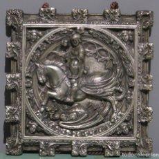 Arte: BONITO SAN JORGE DE PERE JOHAN. BRONCE PLATEADO. PRIMERA MITAD SIGLO XX. Lote 190027845