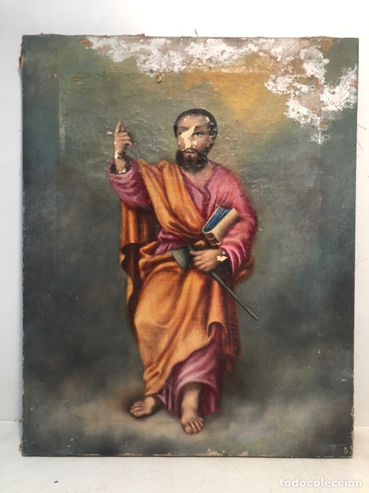 SAN JUDAS TADEO, OLEO SOBRE TELA PARA RESTAURAR. (Arte - Arte Religioso - Pintura Religiosa - Oleo)