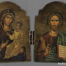 Arte: OPORTUNIDAD ICONO DE MESA BYZANTINO COPIA DE MUSEO DE GRECIA VER TARJETA DEL DORSO. Lote 190119305