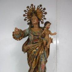 Arte: PRECIOSA VIRGEN CON NIÑO BARROCA- TALLA DE MADERA POLICROMADA Y DORADA - 75 CM ALTURA - S. XVIII. Lote 190145936